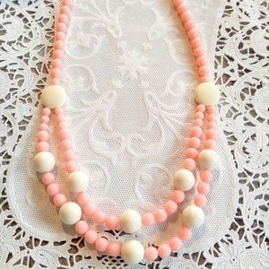 WOW! Unusual Pink White Vintage Necklace-2 Strand
